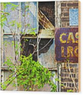 Abandoned Factory With Rusted Metal Sign Wood Print by Gordon Wood