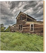 Abandoned Farm Buildings Saskatchewan Wood Print