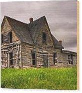 Abandoned Farm House Wood Print