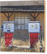 Abandoned Gas Pumps And Station Wood Print