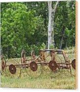 Abandoned Hay Rake 2 Wood Print
