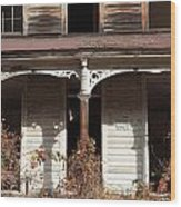 Abandoned House Facade Rusty Porch Roof Wood Print