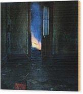 Abandoned House On Fire Wood Print