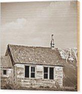 Abandoned Montana Shcoolhouse Wood Print