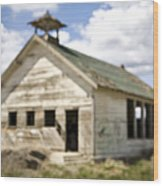 Abandoned Rural School House Wood Print
