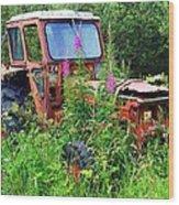Abandoned Tractor Wood Print