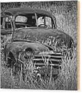 Abandoned Vintage Car Along The Roadside Wood Print