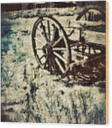 Abandoned Wagon By Old Ghost Town. Wood Print