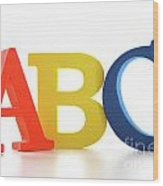 Abc Letters On White  Wood Print