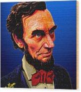 Abe Lincoln Blue Wood Print