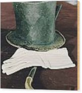 Aberaham Lincolns Hat, Cane And Gloves Wood Print