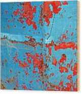 Abstrac Texture Of The Paint Peeling Iron Drum Wood Print