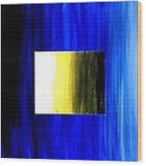 Abstract 3d Golden Blue  Square Wood Print