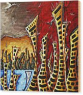 Abstract Art Contemporary Coastal Cityscape 3 Of 3 Capturing The Heart Of The City II By Madart Wood Print