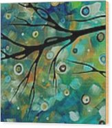 Abstract Art Original Landscape Painting Colorful Circles Morning Blues II By Madart Wood Print
