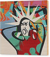 Abstract Artwork Of A Angry Man Holding His Head Wood Print