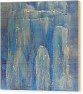 Abstract Blue Ice Wood Print