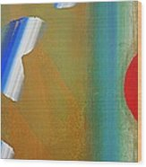 Abstract Blue With Red Sun Wood Print