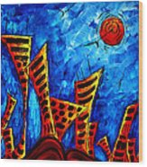Abstract Cityscape Art Original City Painting The Lost City II By Madart Wood Print