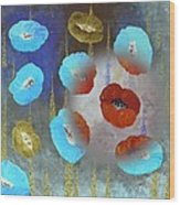 Abstract Colorful Poppies Wood Print