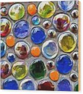 Abstract Digital Art Multi Colored Glass Balls Wood Print