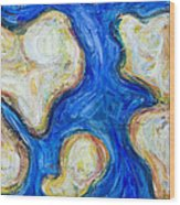 Abstract Five Continents Wood Print