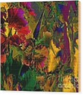 Abstract Flowers Wood Print by Doris Wood