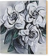 Abstract Gardenias Wood Print