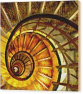 Abstract Golden Nautilus Spiral Staircase Wood Print
