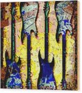 Abstract Guitars Wood Print