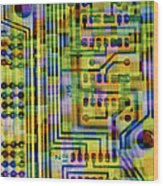 Abstract Image Of A Circuit Board. Wood Print by Tony Craddock