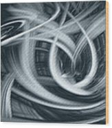 Abstract In Black And White Wood Print