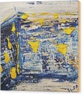 Abstract Kotel Prayer At The Western Wall Waiting For Peace In Blue Yellow Silver Jerusalem Israel  Wood Print