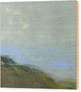 Abstract Landscape - Green Hillside Wood Print