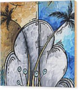 Abstract Martini Tropical Contemporary Original Painting Martini On The Beach By Madart Wood Print