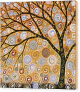 Abstract Modern Tree Landscape Dreams Of Gold By Amy Giacomelli Wood Print