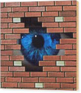 Abstract Of Eye Looking Through Hole In Brick Wall Wood Print