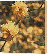 Abstract Of Yellow Flowers Wood Print