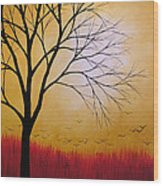Abstract Original Tree Painting Summers Anticipation By Amy Giacomelli Wood Print