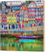 abstract Portuguese city Porto-3 Wood Print