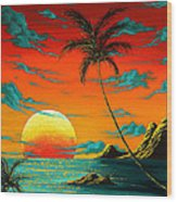Abstract Surreal Tropical Coastal Art Original Painting Tropical Burn By Madart Wood Print