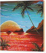 Abstract Surreal Tropical Coastal Art Original Painting Tropical Fusion By Madart Wood Print
