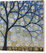 Abstract Tree Nature Original Painting Starry Starry By Amy Giacomelli Wood Print