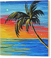 Abstract Tropical Palm Tree Painting Tropical Goodbye By Madart Wood Print