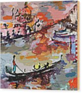 Abstract Venice Italy Gondolas Wood Print by Ginette Callaway