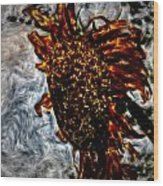 Abstract Watercolor Sunflower Wood Print