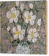 Abstract Wild Roses Heavy Impasto Wood Print