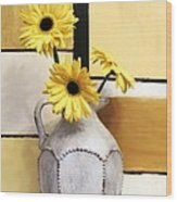 Abstract Yellow Daisies Wood Print