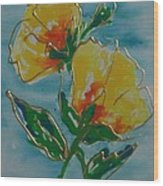Abstract Yellow Flower No3 Wood Print