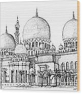 Abu Dhabi Masjid In Ink  Wood Print by Adendorff Design